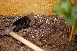 hoe in garden
